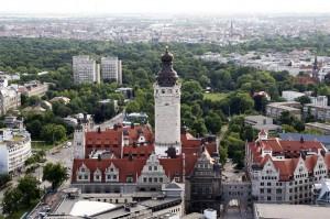 Blick vom City-Hochhaus auf Leipzig